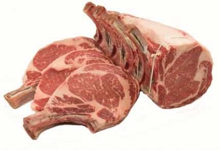 DRY AGED NATURALLY RAISED PRIME RIB ROAST;  4 RIB ROAST AND 3 RIB CHOPS