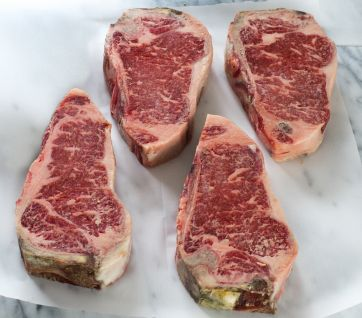 Dry Aged Prime Kansas City Strip Steaks (4 per pack)