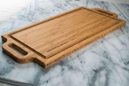 Two Handled Bamboo Board with Groove, DeBragga Logo