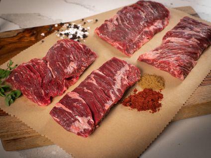 Angus peeled Skirt steaks, (eight steaks)