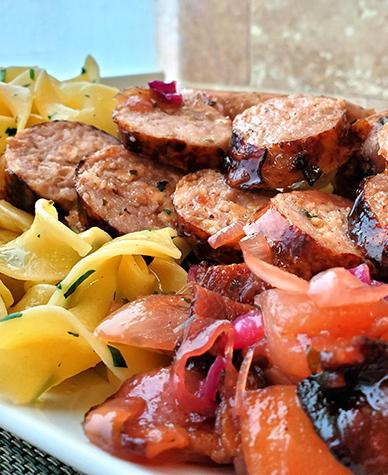Pork and Apple Sausage with Bacon and Cabbage